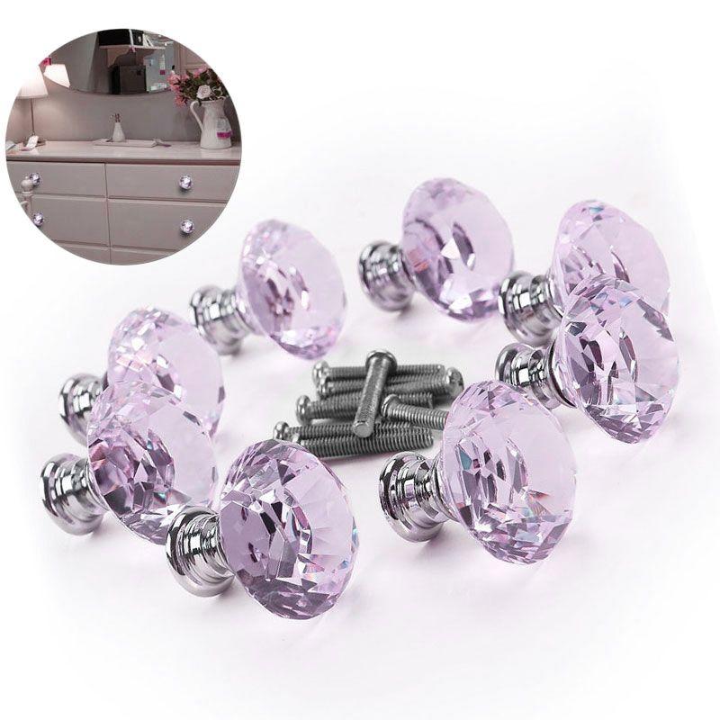 8pcs Crystal Glass Diamond Furniture Handles Drawer Wardrobe Kitchen Cabinets Cupboard Door Pull Knobs DIA 30mm   Sale C