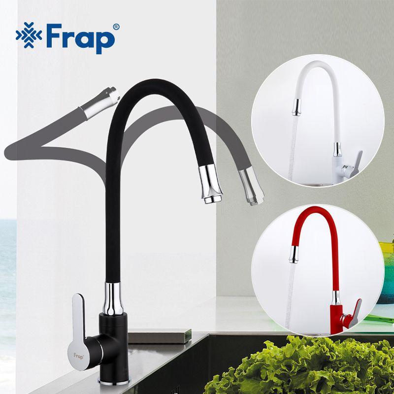 Frap Nouveau blanc noir flexible Cuisine évier robinet en laiton 360 degrés rotation torneira cozinha robinet d'eau mélangeur cuisine marchandises F4042