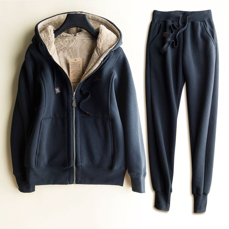 Autumn/Winter New Women Classic Pattern Tracksuit Cotton Top Quality Sweatsuits for Couples Sweatshirts + long Pants