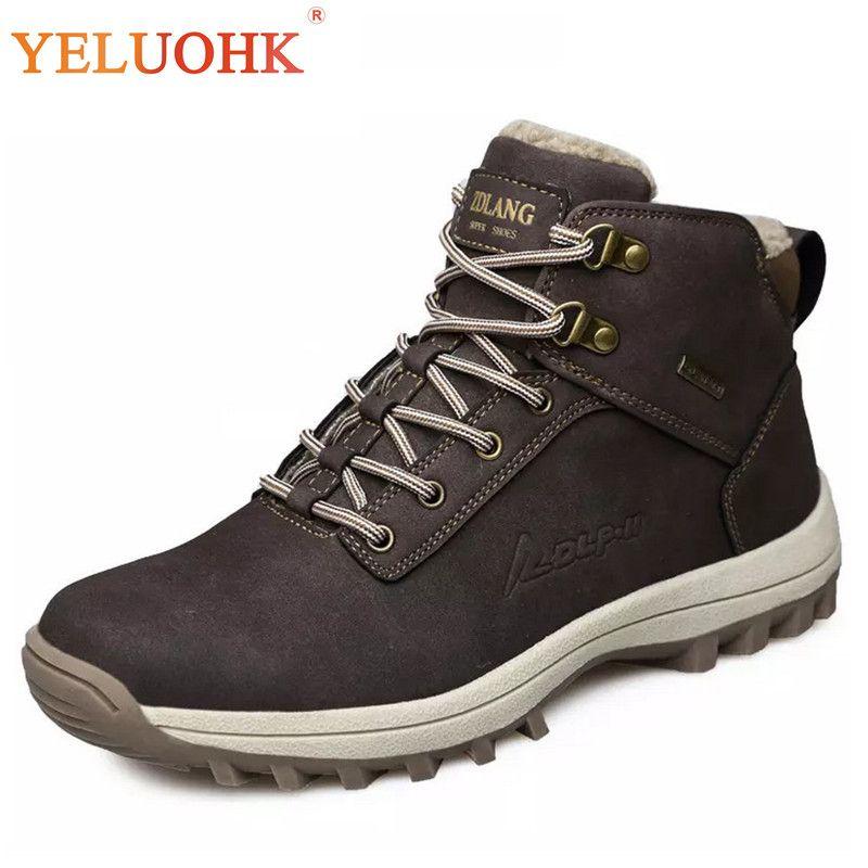 39-46 Men Boots Plush Warm Winter Men Shoes Big Size Anti skidding Winter Shoes Men Black Brown Safety Shoes 2018