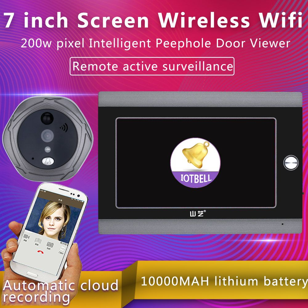 MOUNTAINONE 7 Inch WiFi Peephole Door Viewer & Video IP Doorbell 7 Inch Screen IR PIR Door HD Camera Motion Detect Door Bell