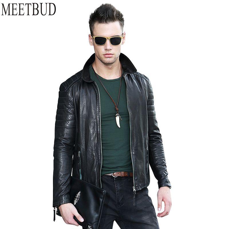 MEETBUD 2017 new brand casual men genuine leather jacket spring autumn men sheepskin motorcycle coats slim fit black jacket