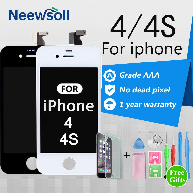 Neewsoll AAA Grade 3.5'' Screen For iPhone 4 4S LCD Display Touch Screen Digitizer Assembly Replacement No Dead Pixel