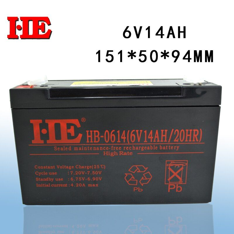 HE small rechargeable sealed lead acid battery agm storage toy car battery 6v 14ah replace 10ah 12ah 151x50x94mm wholesale
