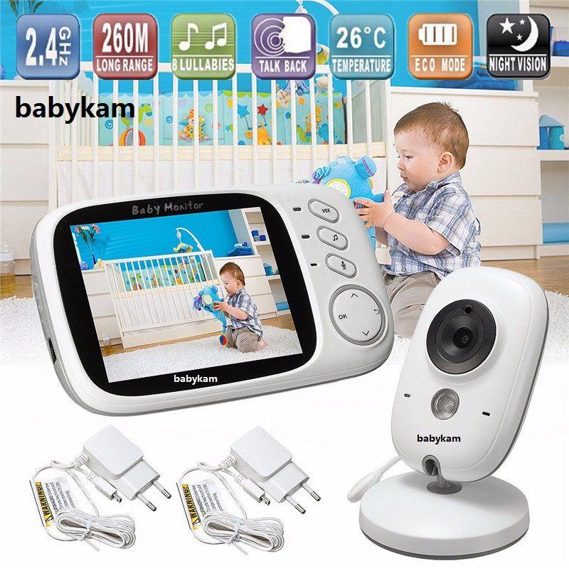 Babykam Видеоняни и радионяни vb603 3.2 дюймов ЖК-дисплей ИК Ночное видение 2 way Обсуждение 8 колыбельные Температура Мониторы видео няня радио няня