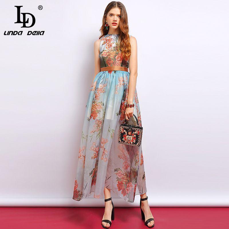 LD LINDA DELLA Mode Sommer Kleid frauen Ärmel Seite schlitzte Mesh Overlay Floral Gedruckt Elegante Vintage Damen Party Kleid