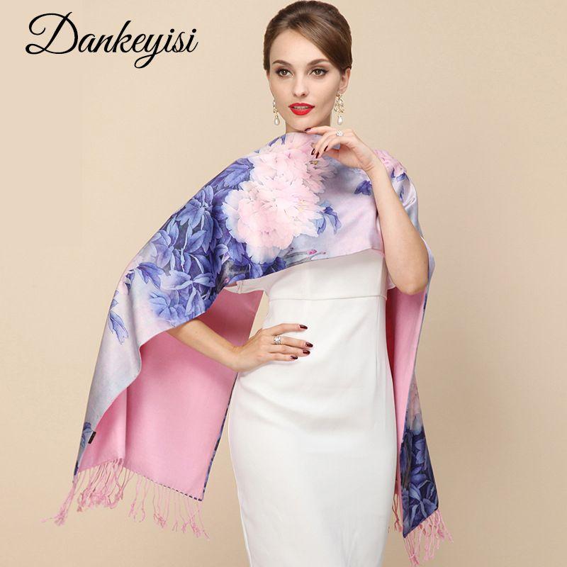 DANKEYISI 2018 créateur de mode dames grande écharpe femmes marque enveloppes réel Double-pont épaissi brosse automne hiver châle écharpes