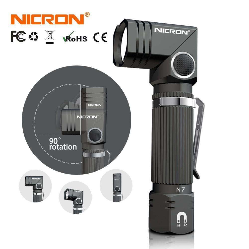 NICRON lampe de poche led Mains Libres Double Carburant 90 Degrés Twist clip rotatif 600LM Étanche Aimant Mini Éclairage torche led En Plein Air N7