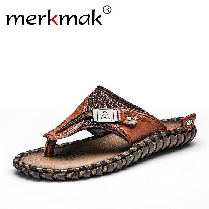 Merkmak Brand Genuine Leather Summer Men Slippers Beach Sandals Comfort Men Casual Shoes Fashion Men Flip Flops Drop Shipping