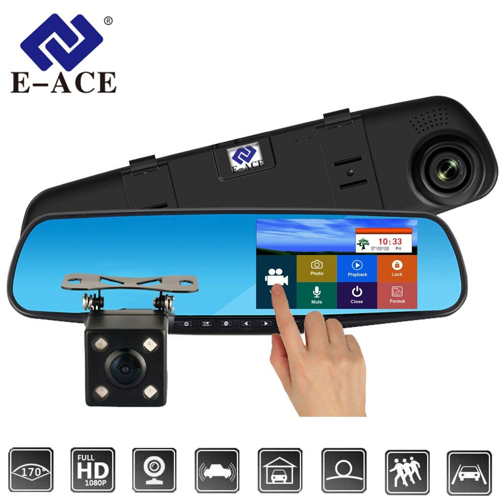 E-ACE Full HD 1080P Car Dvr Camera Auto 4.3 Inch Touch Rearview Mirror Digital Video Recorder Dual Lens Registratory Dash Camera