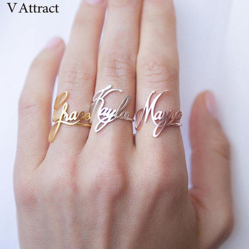 Empilable personnalisé nom anneau personnalisé Bijoux Femme demoiselle d'honneur cadeau en acier inoxydable Bijoux réglable Bague anneaux de mariage femmes