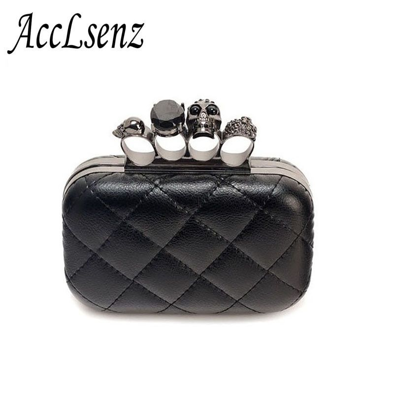 Hot Sale Ladies Clutch Bag Fashion Designer Chain Shoulder Bags Women Retro Skull Ring Dinner Party Bag