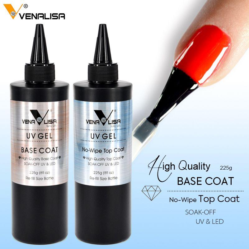 225g Venalisa No Wipe Top Coat New Package No Acid Base Coat Nail Salon Used Nail Gel Polish Soak Off UV LED Gel Top Coat