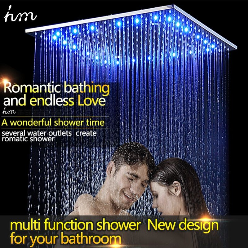 Luxury Rain Shower Head 16Inch OR 20Inch LED Colors Top Sprayer Square 304 Stainless Steel with Silicone Nozzle Easy to Install