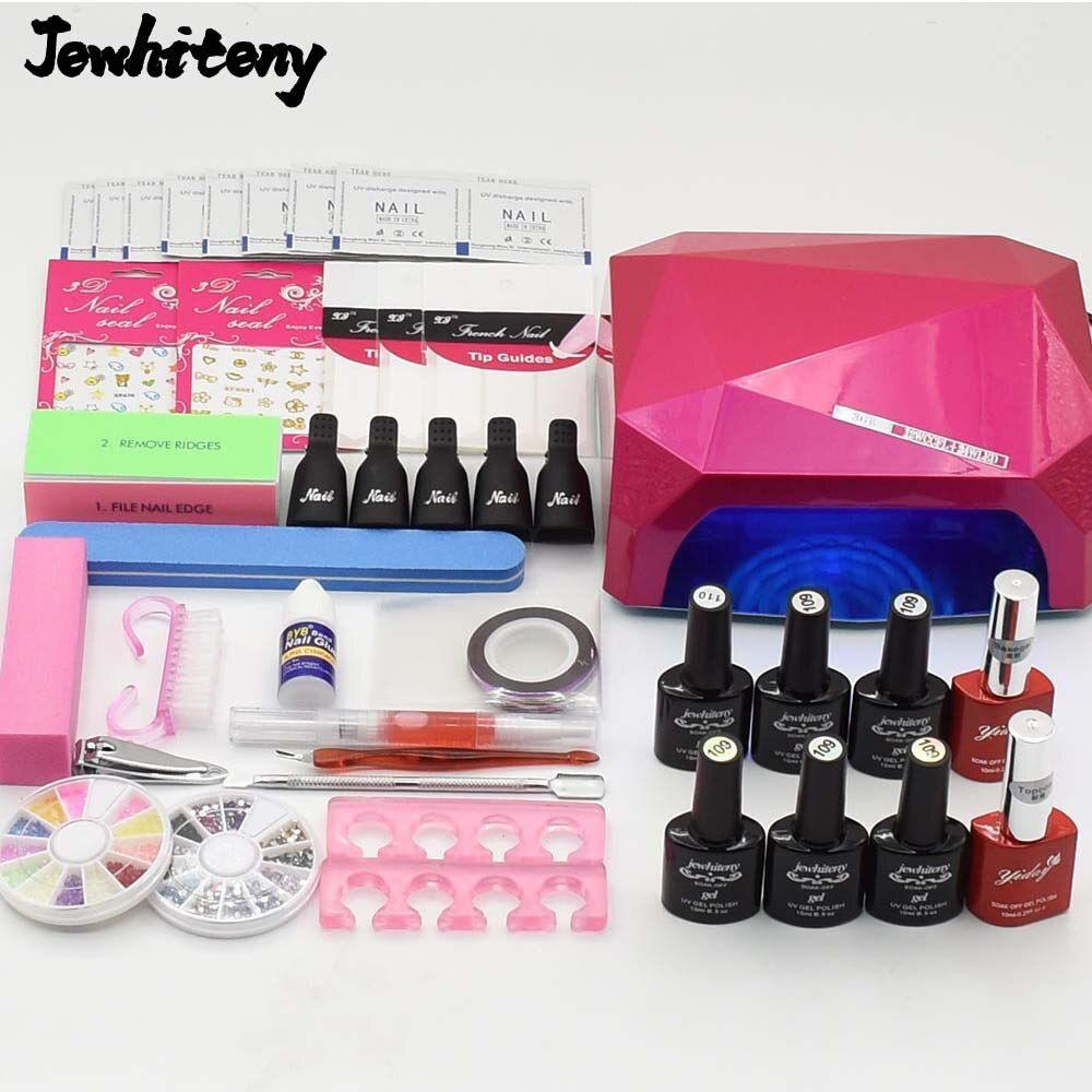Nail art Set UV LED <font><b>Lamp</b></font> dryer 6 Color nail Gel polish uv gel varnish Nail Polish top base coat manicure tools set nail kits