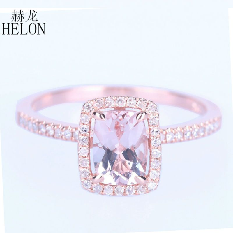 HELON UNBELIEVABLE! 1.37CT Cushion Cut Morganite Solid 10K Rose Gold Engagement Wedding Diamonds Ring For Women's Jewelry Ring