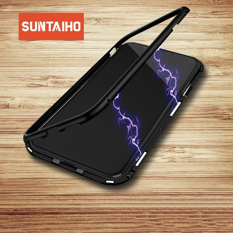 Suntaiho magnetic adsorption Phone case for iPhone XS Max XR 7 X case Magnetic Tempered Glass Case for iPhone XR MAX X 7 86 PLUS