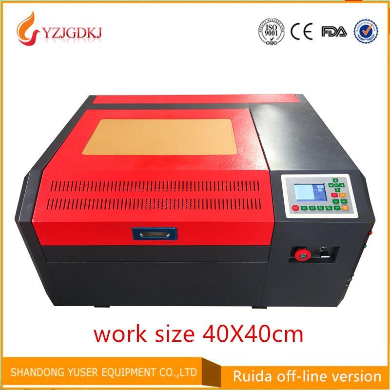 Freies verschiffen 4040 co2 laser gravur maschine Ruida off-line control panel diy mini 50 watt laser schneiden maschine coreldraw unterstützung