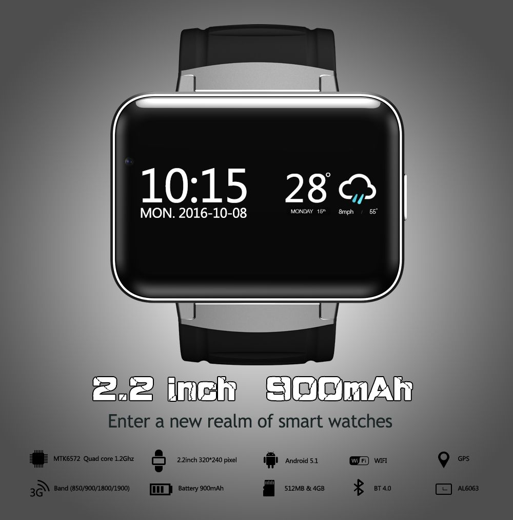 DM98 Smart Watch Android 5.1 MTK6572A 2.2