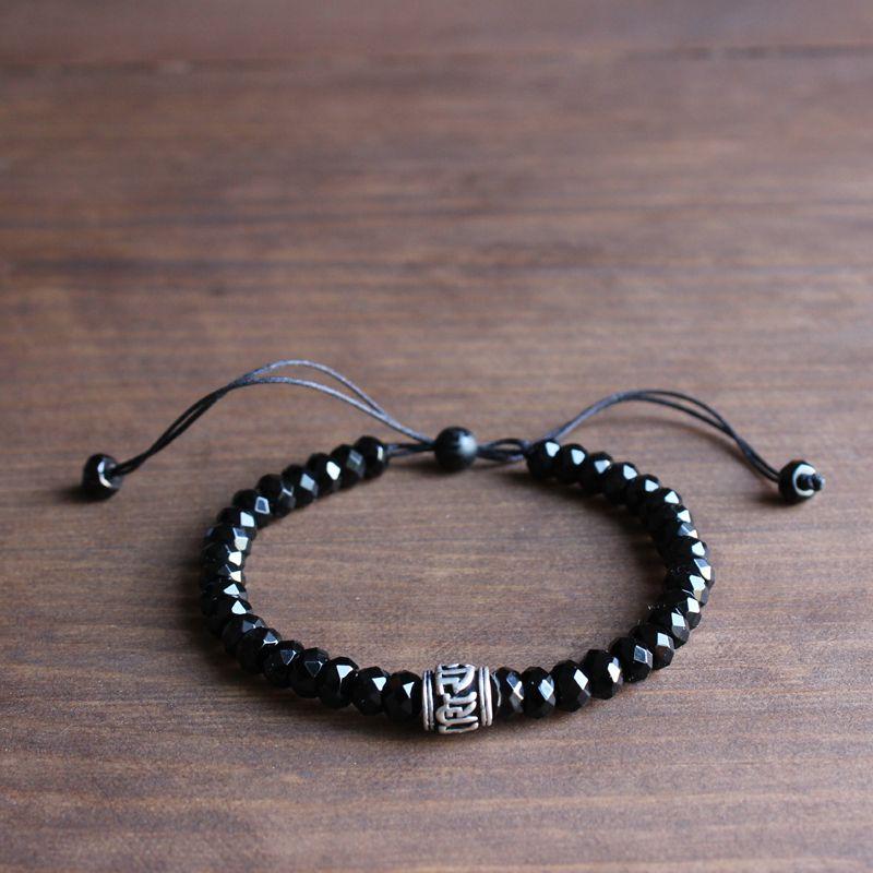 Gros noir pierre blanc cuivre Six mots vrais signe charme Mala perles Bracelet unisexe tibétain bouddhiste fait à la main cadeau de noël