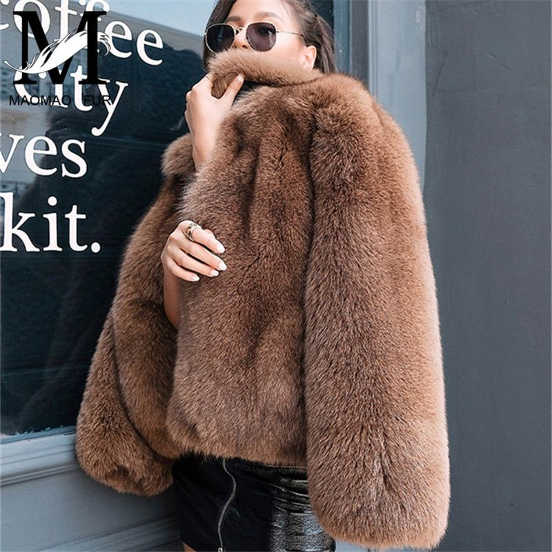 Women Genuine Natural Fox Fur Coats Luxury Whole Skin Fox Fur Coats Winter Warm Outwear Fashion Style Real Fur Jacket