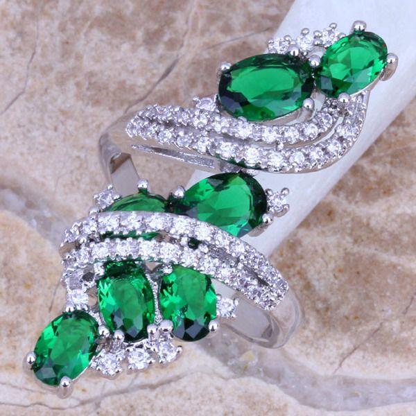 Zircon cubique vert attrayant blanc CZ 925 taille de bague en argent Sterling 5/6/7/8/9/10/11/12 S0221