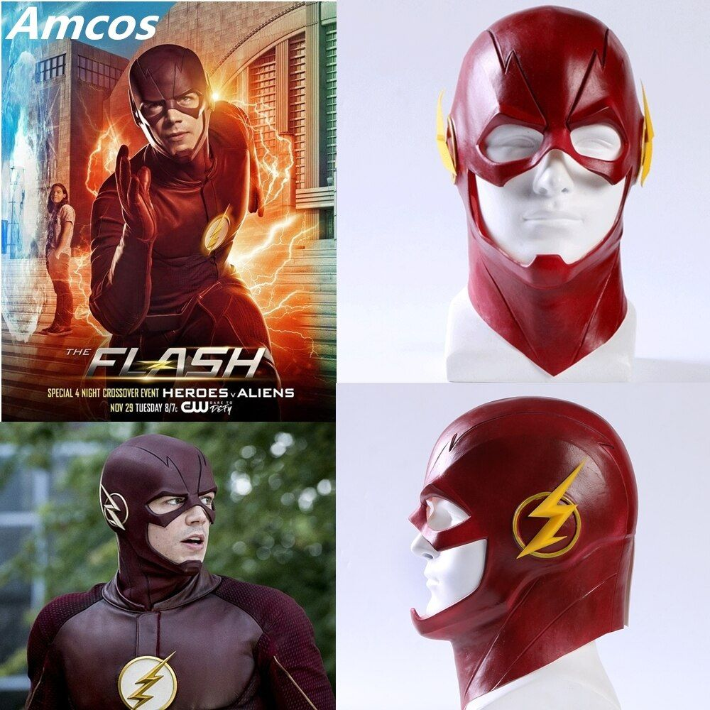 Série TV le masque Flash Cosplay Costume Prop Halloween tête pleine Latex fête masques Mascarade adulte Barry Allen Cos