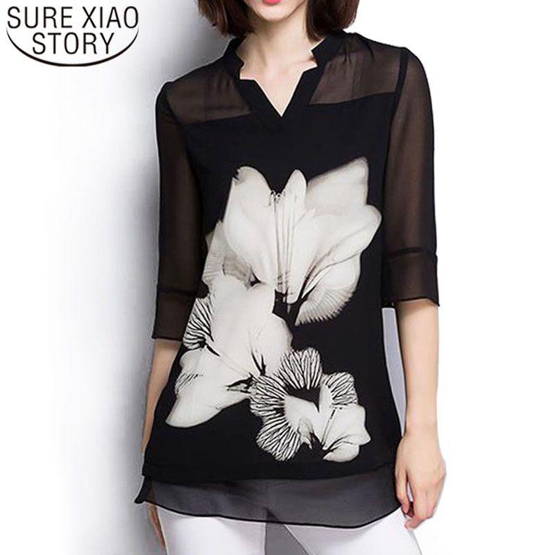 Femmes hauts et chemisiers 2019 mousseline de soie Blouse grand sizel noir Floral grande taille col en V à manches longues chemises élégantes femmes 60C 25
