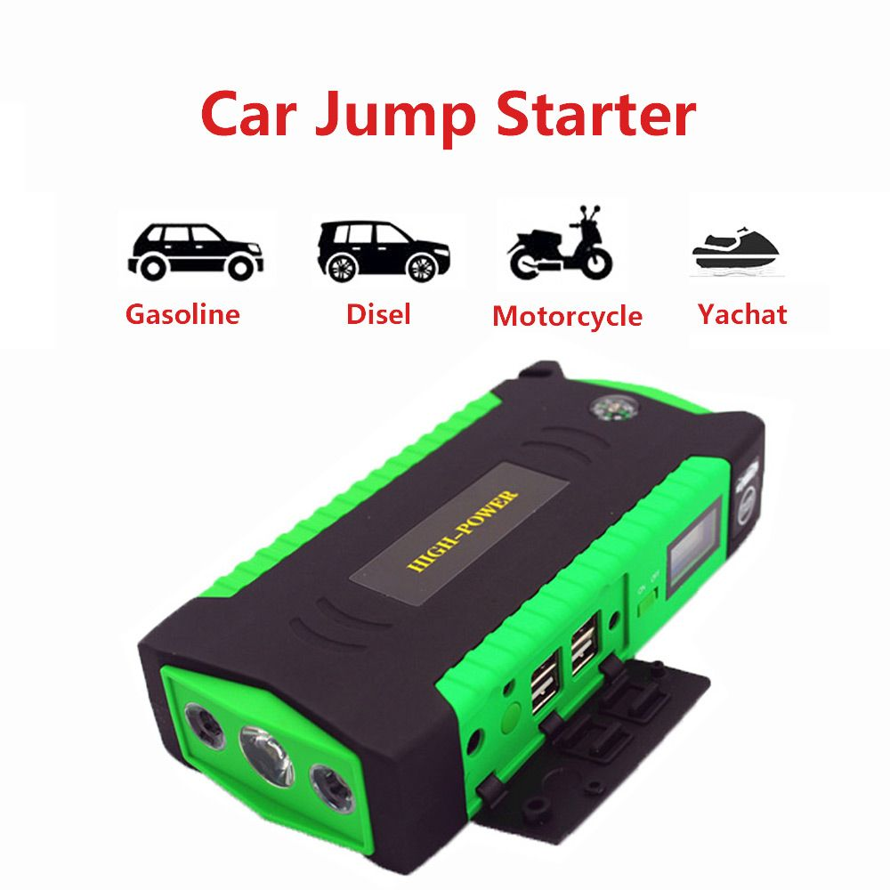 Multi-Function Mini Portable Emergency Battery Charger Car Jump Starter 16000mAh Potable Power Bank Starting Device LED Light