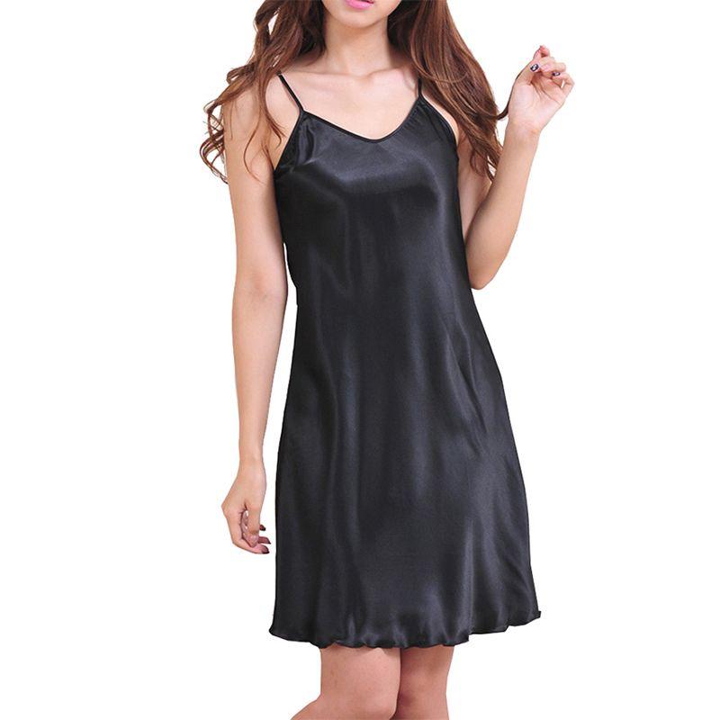 2017 г. пикантные Для женщин Ночные сорочки Атлас сорочки скольжения пижамы Размеры S-3XL короткое платье