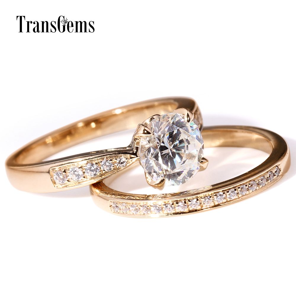 Transgems 1 Ct F Color Double Band Round Rings Yellow Gold Anniversary Ring For Women With moissanite Accents Stone
