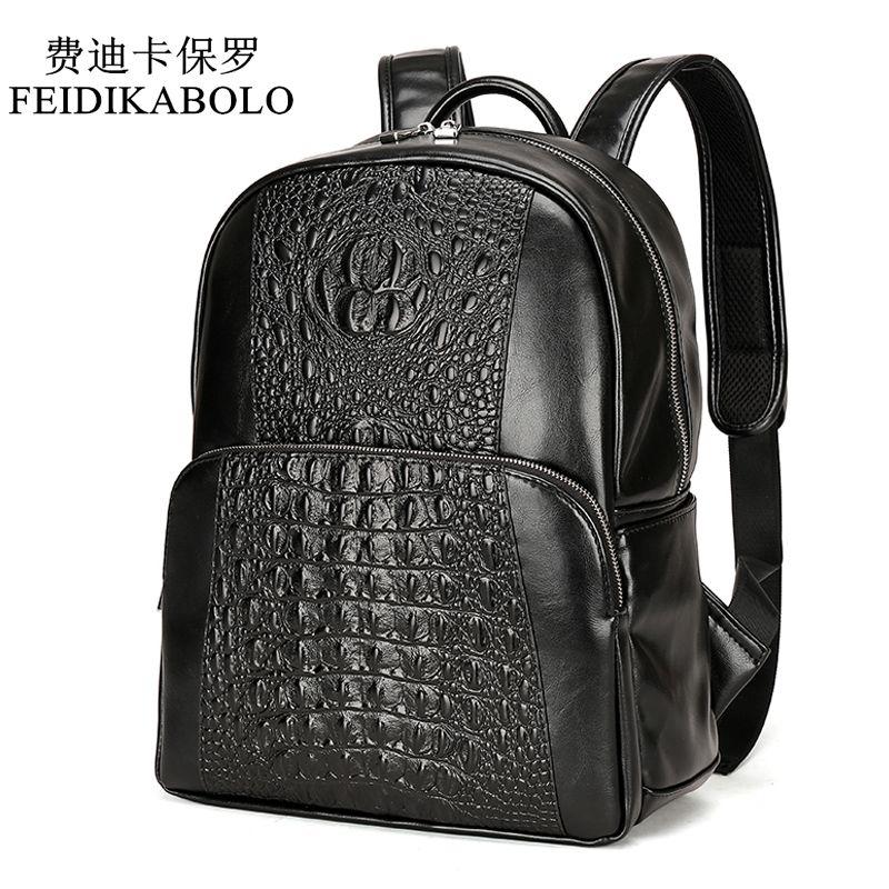 FEIDIKABOLO Fashion PU Crocodile Men's Backpack Male Leather Backpacks High Quality Student Bag Men Rucksack Bagpack mochila