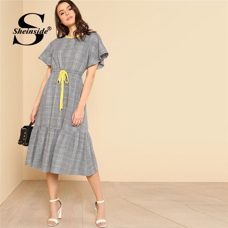 Sheinside Grey Drawstring Waist Ruffle Plaid A-Line Dress Round Neck High Waist Dress 2018 Summer Women OL Work Dress