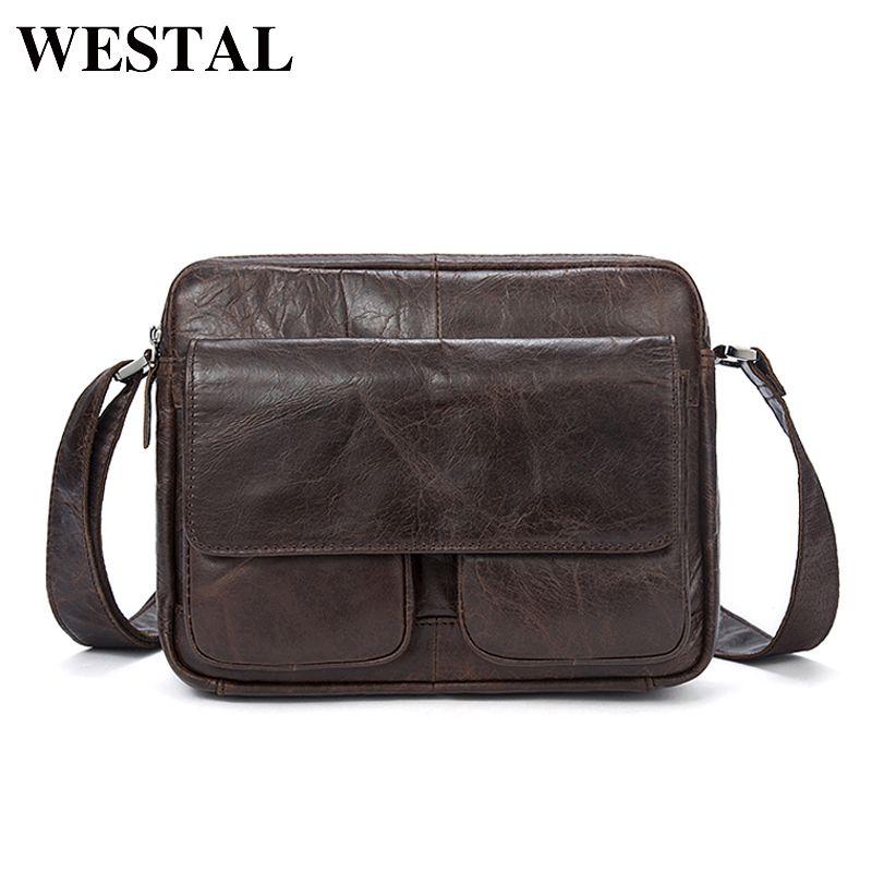 WESTAL Men Bag Genuine Leather Messenger Bag Men Leather Shoulder Crossbody Men Bags Flap Shell Solid Fashion Zipper Bag 8931