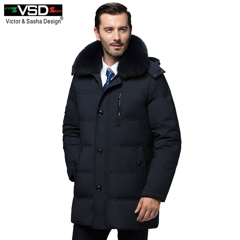 VSD Winter New Duck Down Jacket Real Fur Collar Men's Fashion High Quality Father Clothing Casual Jackets Thickening Parkas V970