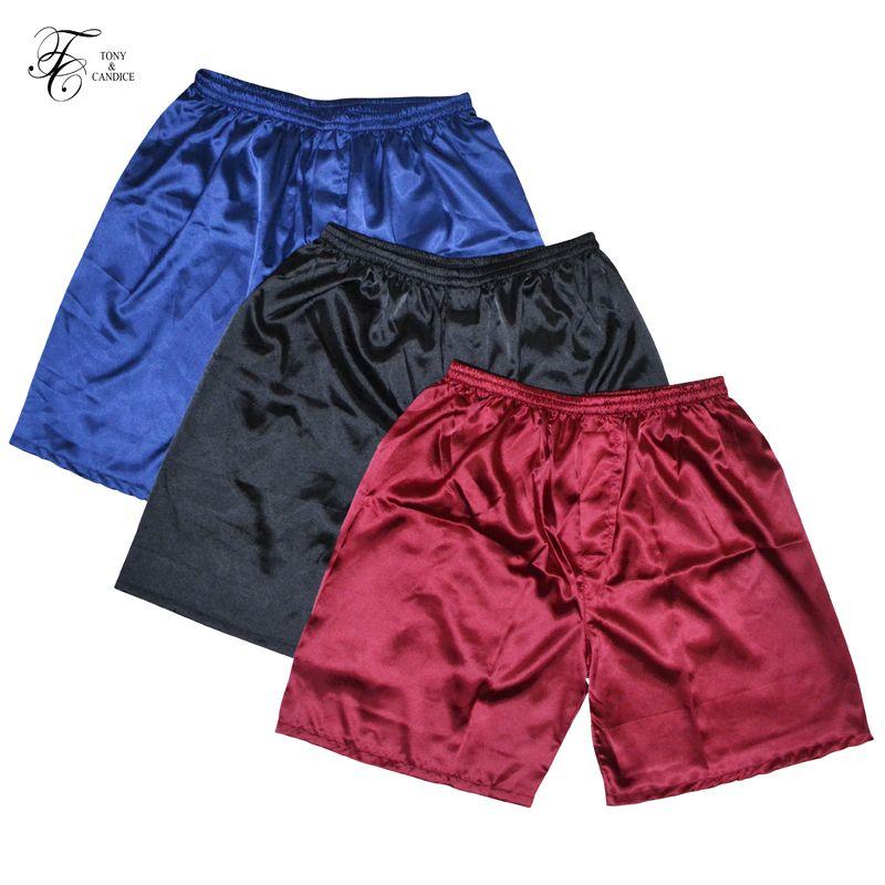 TONY & candice 3 шт./лот атласные мужские шелковые боксеры пижамные короткие брюки шорты комбинированный пакет нижнее белье пижамы для мужчин сна