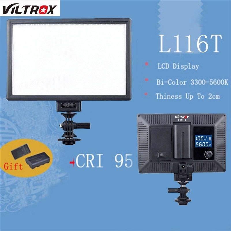 Viltrox L116T LCD Display Bi-Color Dimmable LED Phone Video Installation Camera Light DSLR Video Studio Lamp Battery&Charger