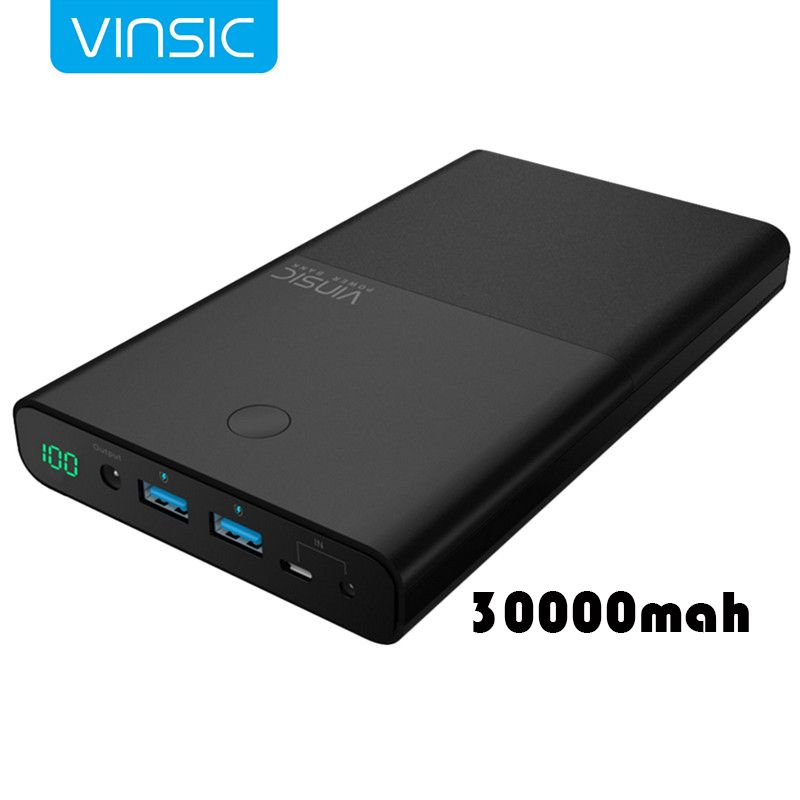 VINSIC 30000 mAh mobile Power Bank for iphone X 7 8 plus High-end Imported Lithium Battery Supply For Notebook Computers Laptops