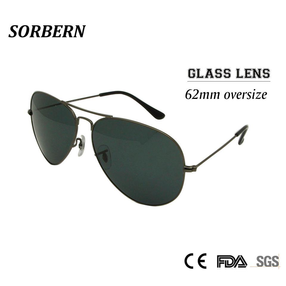 Sorbern 62 MM pilote surdimensionné lunettes de soleil hommes verre lentille verre pour homme Google lunettes nuances hommes lunettes oculos masculino
