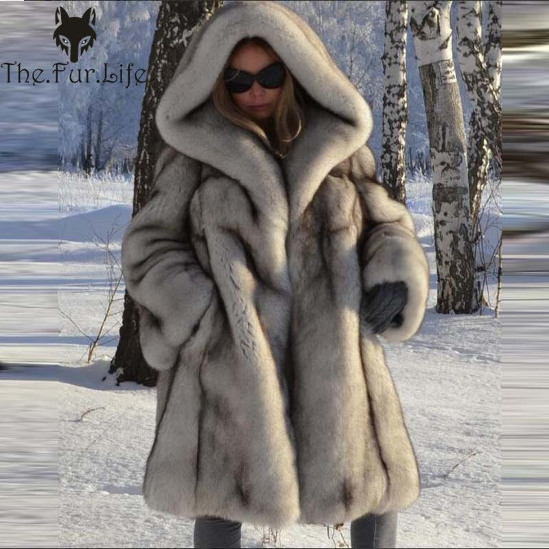 2018 Real Fox Fur Coat With Hood Women Fur Jacket Winter Natural Loose Fox Fur Collar Warm Long Casual Outerwear Solid Fashion