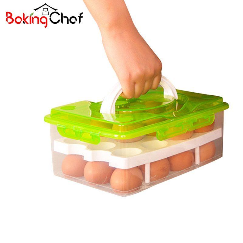 BAKINGCHEF Egg Container Storage Box 24 Grid Bilayer Basket Food Organizer <font><b>Home</b></font> Kitchen Gadgets Items Accessories Supplies Cases