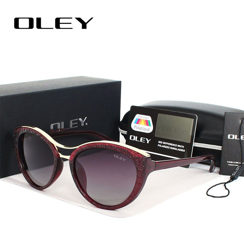 OLEY High Quality Cat Eye Sunglasses Women brand designer Polarized Sun Glasses for woman Driving <font><b>goggles</b></font> gafas zonnebril dames