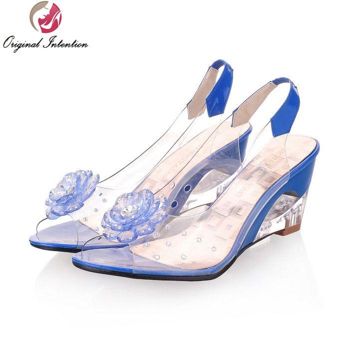 Intention originale femmes sandales Transparent fleurs sandales à talons compensés rouge noir bleu jaune Beige chaussures femme taille américaine 3.5-10.5
