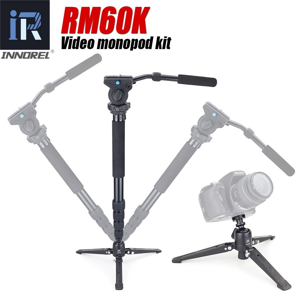 INNOREL RM60K Professional monopod kit Aluminum Alloy Video Monopod with Fluid Pan Head and Unipod Holder Better than JY0506