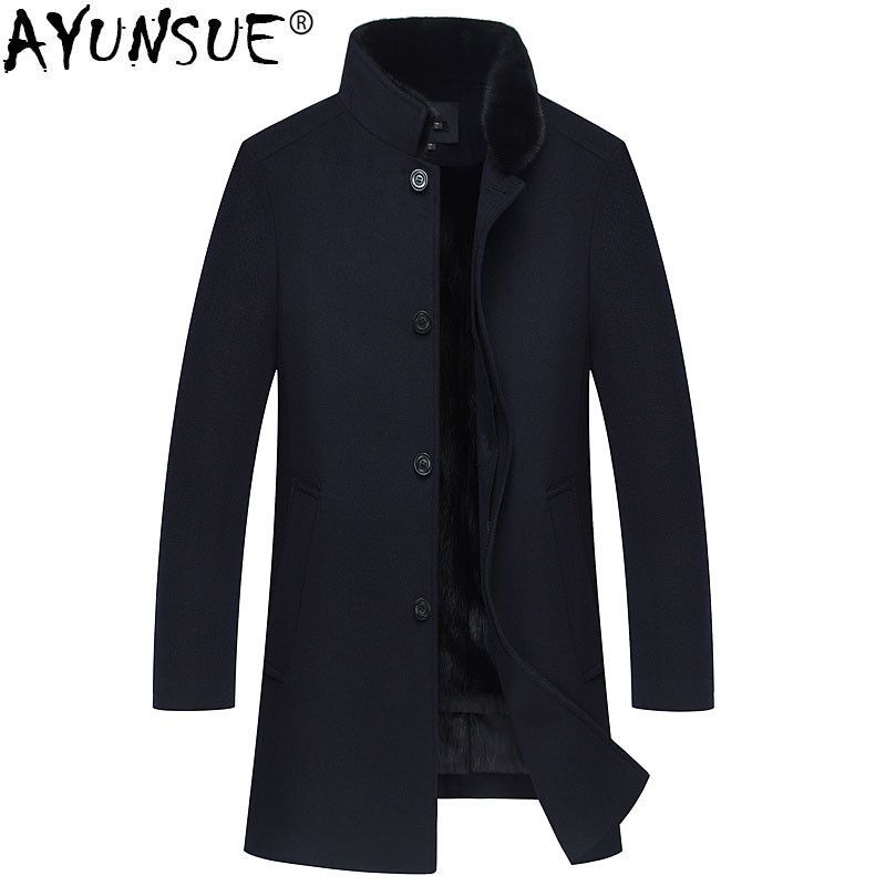 AYUNSUE Winter Jacke Männer Natürliche Nerz Pelz Mäntel Natürliche Wolle Mantel Herren Nerz Pelz Kragen Lange Jacken Kaschmir Kleidung 2018 MY772
