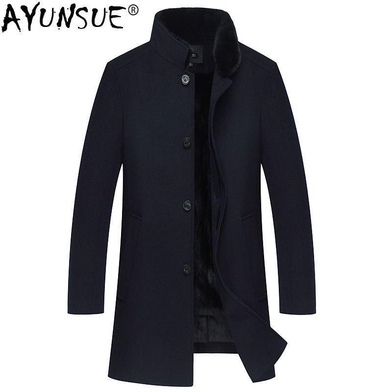 AYUNSUE Winter Jacket Men Natural Mink Fur Coats Natural Wool Coat Mens Mink Fur Collar Long Jackets Cashmere Clothes 2018 MY772