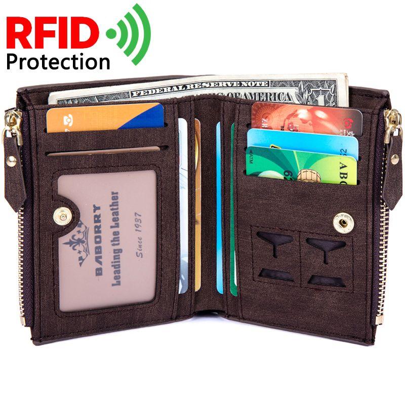 2018 короткая Для мужчин бумажник кражи Протек монет сумка молния RFID Блокировка идентичность кошелек Для мужчин удобные из искусственной кож...