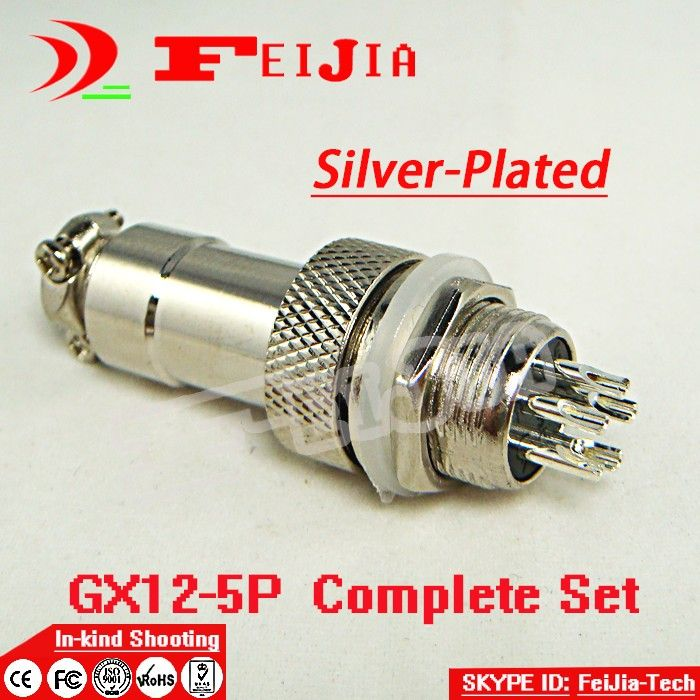 20set/pack  5 Pin 12mm [Silver-plated] Wire Panel Connector kit GX12-5P Socket+Plug,RS765 Aviation plug interface Free Shopping
