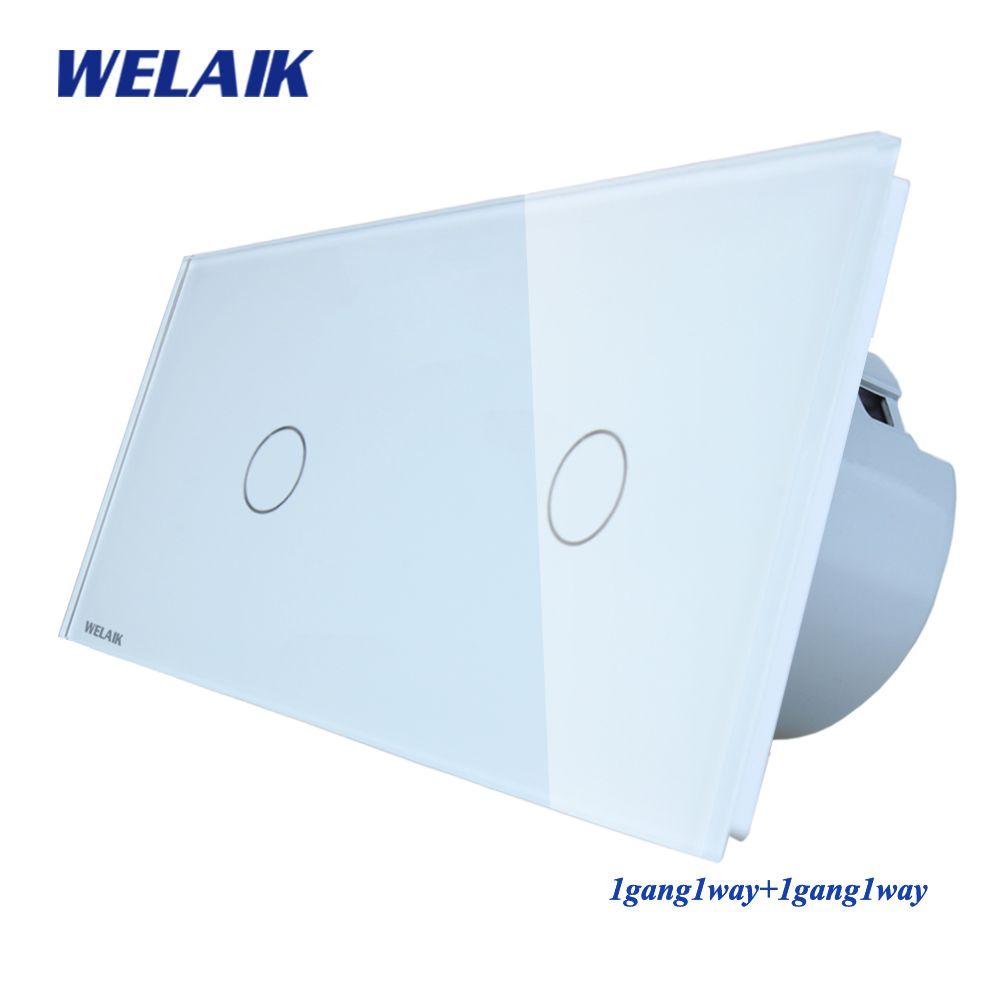 WELAIK Marque 2 Cadre Panneau Verre Cristal Mur UE Commutateur UE Tactile Commutateur Écran Interrupteur 1gang1way AC110 ~ 250 v A291111CW/B