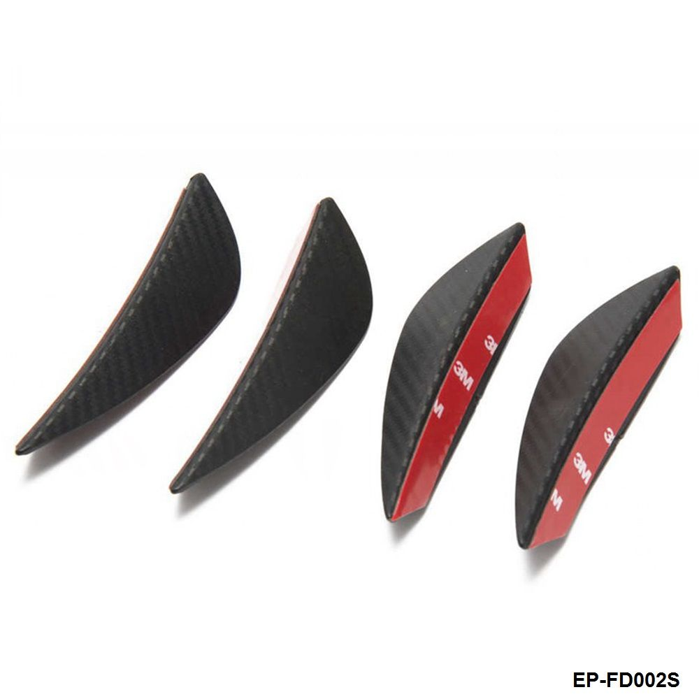 4pcs Universal Fit Front Bumper Lip Splitter Fins Body Spoiler Canard Valence Chin Carbon fiber Color EP-FD002S-AF